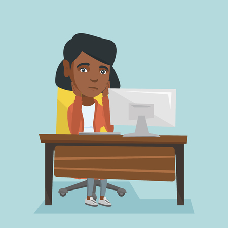 Exhausted african employee sitting at workplace and looking at computer screen. Young overworked tired employee working with her head propped on hands. Vector cartoon illustration. Square layout.