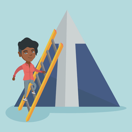 Young african-american business woman using a ladder to climb the mountain with arrow going up.