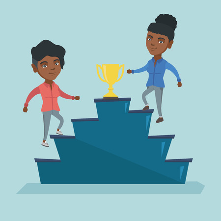 Two african business women competing for the business award. Illustration
