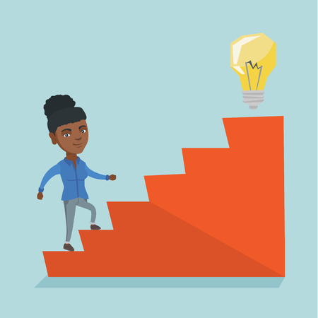 African business woman walking upstairs to the idea lightbulb.