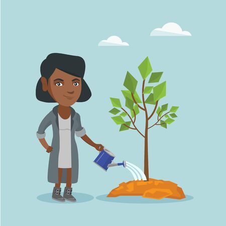 African-american friendly woman watering a tree with a watering can. Illustration