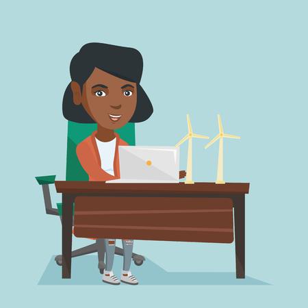 African worker on a laptop. Illusztráció