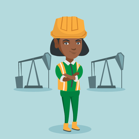 Young african-american confident oil worker in uniform and helmet standing with crossed arms. Vettoriali