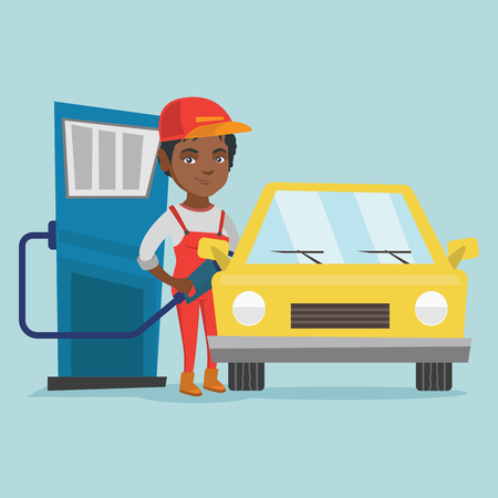 Young african-american worker of gas station refueling a car. Illustration