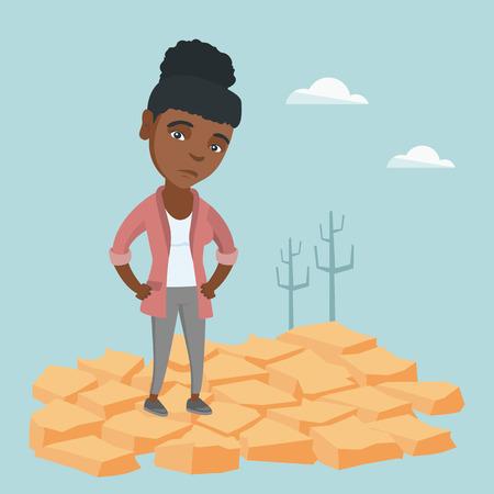 Jeune femme africaine debout dans le désert. Banque d'images - 90227750