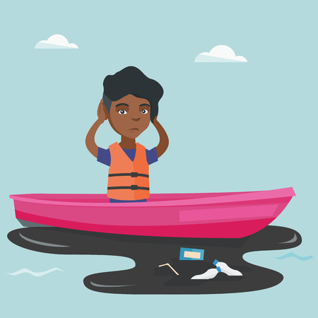 African sanitation worker floating on a boat in polluted water. Illustration