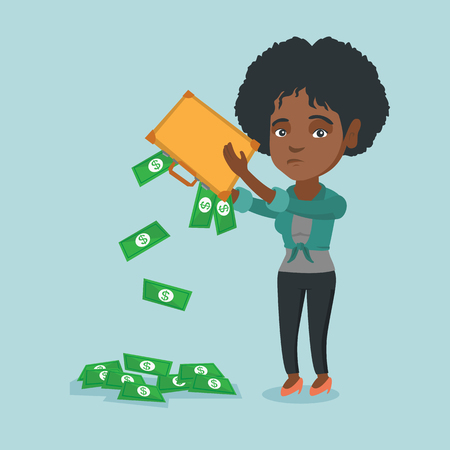 Depressed african penniless woman shaking out money from her briefcase. Despaired penniless woman emptying her briefcase. Bankruptcy and poverty concept. Vector cartoon illustration. Square layout. Illustration