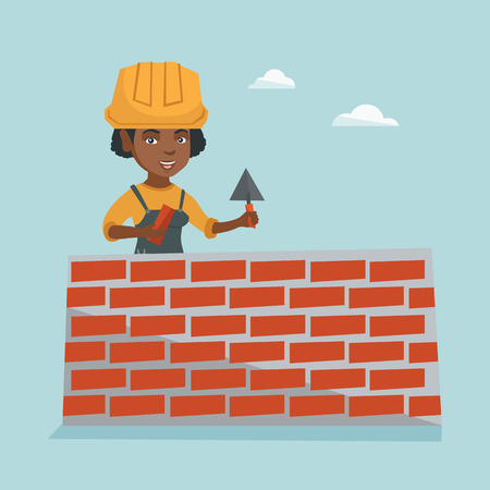 African-american bicklayer working with spatula at the construction site. Young female bricklayer in uniform and hard hat. Bricklayer building a brick wall. Vector cartoon illustration. Square layout. Illustration