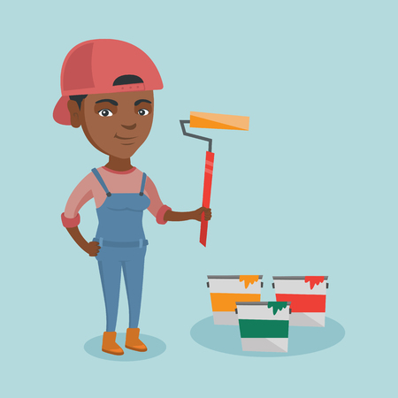 African-american smiling female painter in uniform holding a paint roller in hand. Young cheerful house painter standing near paint cans. Vector cartoon illustration. Square layout.