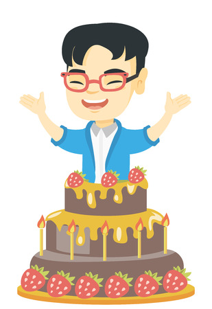 Little asian boy jumping out of a large cake. Full length of cheerful smiling boy standing with raised hands in the cake. Vector sketch cartoon illustration isolated on white background