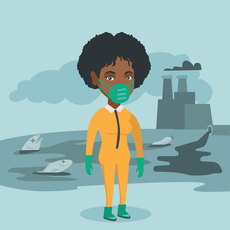 Young african-american woman in gas mask and yellow protective suit standing on the background of nuclear power plant and polluted lake. Vector cartoon illustration. Square layout.