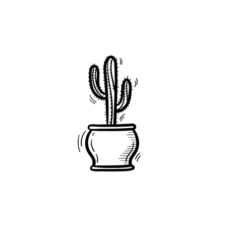 Decorative potted house plant - cactus sketch icon for web, mobile and infographics. Hand drawn cactus vector icon isolated on white background.