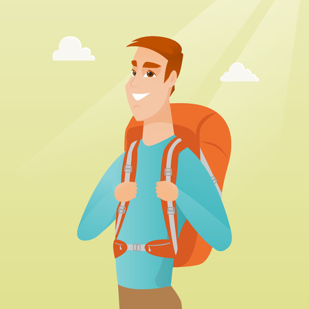 Young caucasian white traveler man standing with a backpack and enjoying his recreation time. Happy smiling man during summer trip. Vector cartoon illustration. Square layout. Illustration