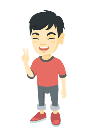 Asian boy showing victory gesture. Full length of little boy showing victory sign with two fingers. Vector sketch cartoon illustration isolated on white background.