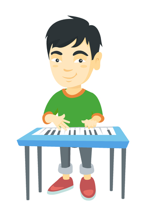 Little asian boy playing the piano. Full length of smiling boy  standing near the piano. Vector sketch cartoon illustration isolated on white background.