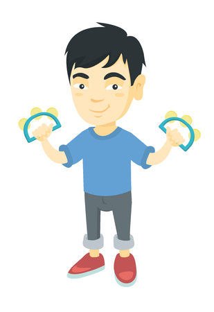 Little asian boy  playing the tambourine. Full length of happy boy with two tambourines in hands. Vector sketch cartoon illustration isolated on white background. Illustration