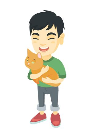 Asian happy boy  holding a cat. Full length of cheerful little boy with a cat in his hands. Vector sketch cartoon illustration isolated on white background.