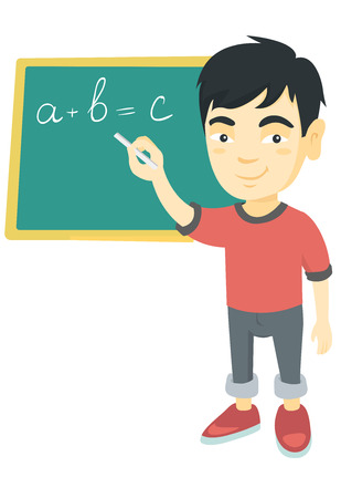 Happy asian schoolboy writing mathematical formula on the classroom blackboard. Smiling schoolboy writing on blackboard with chalk. Vector sketch cartoon illustration isolated on white background.
