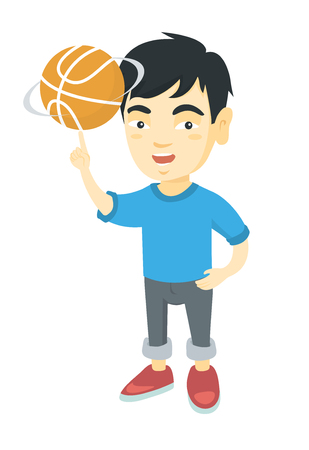 Young asian cheerful boy spinning a basketball ball on his finger. Happy little boy playing basketball. Vector sketch cartoon illustration isolated on white background.