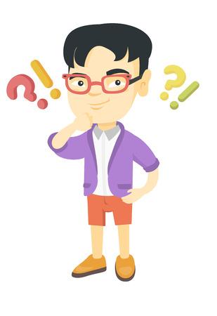アジアの少年は、疑問符や感嘆符の下に立ちます。質問や感嘆符のオーバーヘッドと考えて物思いにふける少年。ベクター スケッチ漫画イラスト白