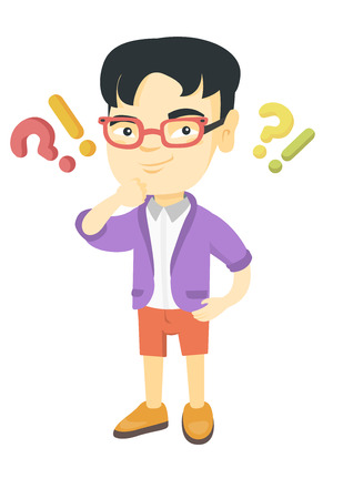 Asian boy standing under question marks and exclamation points. Pensive boy thinking with question and exclamation marks overhead. Vector sketch cartoon illustration isolated on white background.