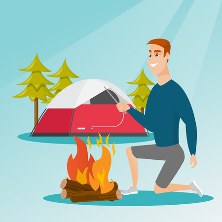 Young caucasian white man with a wooden stick in his hand sitting near the campfire and enjoying the atmosphere. Man making the campfire. Vector cartoon illustration. Square layout. Illustration