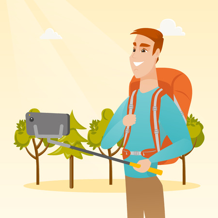 Young happy caucasian white traveler man holding a selfie-stick and making selfie. Smiling traveler man with a backpack taking photo with a mobile phone. Vector cartoon illustration. Square layout. Illustration