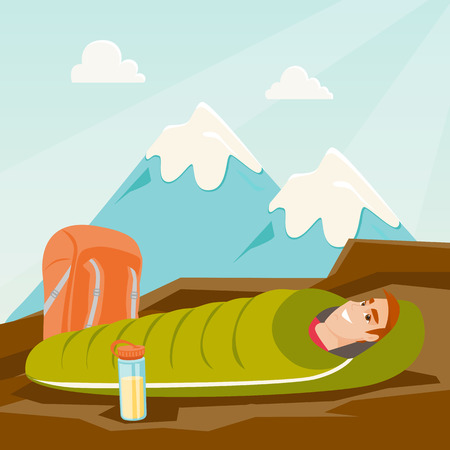 Young caucasian white man sleeping in a sleeping bag during a hike in the mountains. Smiling man laying on the ground wrapped up in a mummy sleeping bag. Vector cartoon illustration. Square layout.