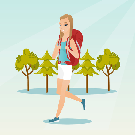 Young caucasian white backpacker with a backpack walking outdoor. Cheerful backpacker hiking in the forest during summer trip. Vector cartoon illustration. Square layout.