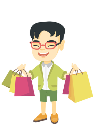 Happy asian boy holding shopping bags. Young smiling boy carrying shopping bags. Cheerful boy standing with a lot of shopping bags. Vector sketch cartoon illustration isolated on white background.