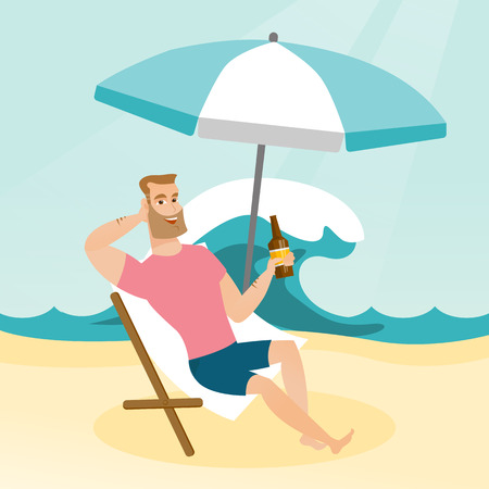 Young caucasian white man sitting on a chaise-longue on the beach. Happy smiling man relaxing on a chaise-longue and drinking beer. Vector cartoon illustration. Square layout.