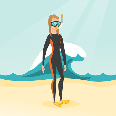 Young caucasian white scuba diver in diving suit, flippers, mask and tube standing on the background of a big wave. Full length of scuba diver on the beach. Vector cartoon illustration. Square layout.