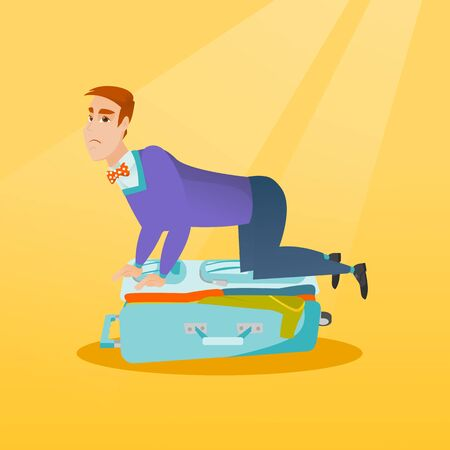 Young caucasian white man sitting on a suitcase and trying to close it. Frustrated man having problems with packing a lot of clothes into a suitcase. Vector cartoon illustration. Square layout. Illustration