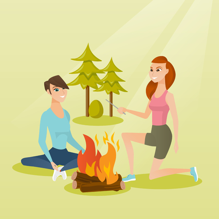 Two caucasian white happy friends sitting near bonfire in the camping. Young friends relaxing near bonfire in the forest. Concept of travel and tourism. Vector cartoon illustration. Square layout.