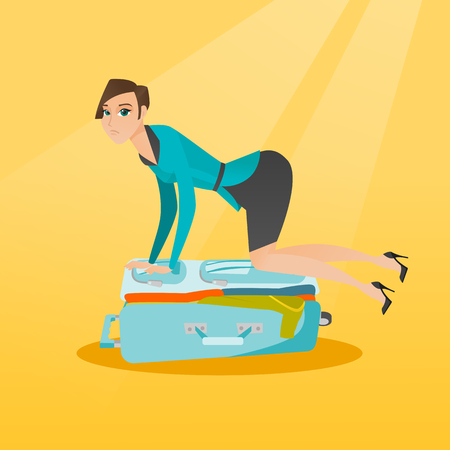 Young caucasian white woman sitting on a suitcase and trying to close it. Frustrated woman having problems with packing a lot of clothes into a suitcase. Vector cartoon illustration. Square layout.