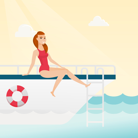Young caucasian white woman tanning on the front of the yacht. Happy woman travelling by yacht. Woman resting during summer trip on the yacht. Vector cartoon illustration. Square layout. Illustration
