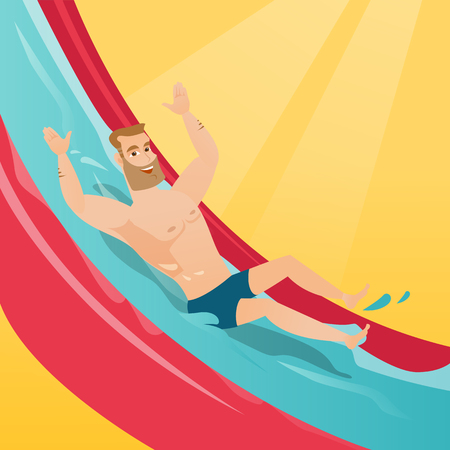 Young caucasian white man riding down a waterslide in aquapark. Happy man having fun on a water slide in waterpark. Cheerful man going down a water slide. Vector cartoon illustration. Square layout. Illustration