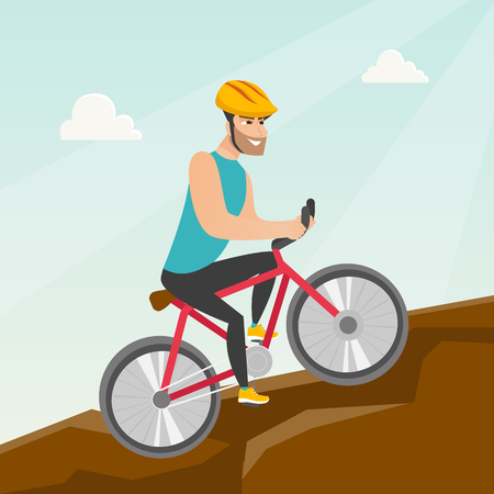Young happy caucasian white traveler man in helmet riding a mountain bike in the mountains. Vector cartoon illustration. Square layout.