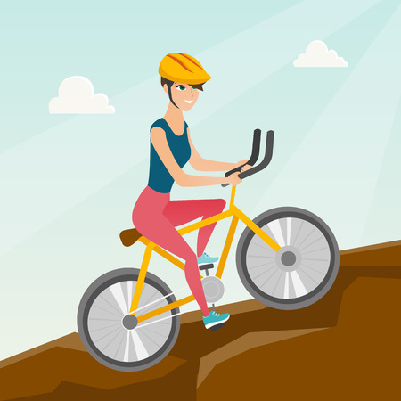 Young happy caucasian white traveler woman in helmet riding a mountain bike in the mountains. Vector cartoon illustration. Square layout.