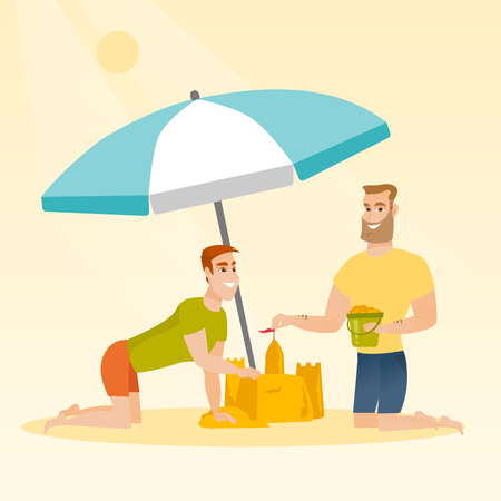 Cheerful caucasian white men making a sand castle on the beach under beach umbrella. Happy friends building a sandcastle. Tourism and beach holiday concept. Vector cartoon illustration. Square layout.