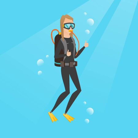 Young caucasian white woman in diving suit swimming underwater with scuba and showing thumb up. Happy scuba diver giving thumb up. Woman enjoying the dive. Vector cartoon illustration. Square layout.