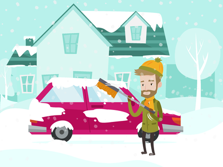 Young caucasian white man cleaning his car window from snow and ice with a brush on the street in the winter. Man removing snow from car with the help of special broom. Vector cartoon illustration.