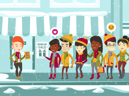 Diverse group of multiracial people standing in a queue to the store on the street for the boxing day sale and Caucasian white woman distributing flyers with text sale.