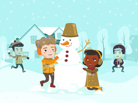Multicultural children playing snowball fight and making a snowman in the yard. Happy African-american, Asian, Caucasian little friends having fun in the snow in winter. Ilustracja