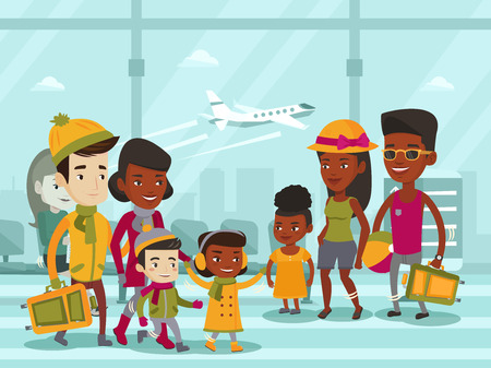 Diverse group of multi-ethnic tourists in warm winter and summer clothes walking at the airport. African-american and biracial families with kids meeting at the airport.