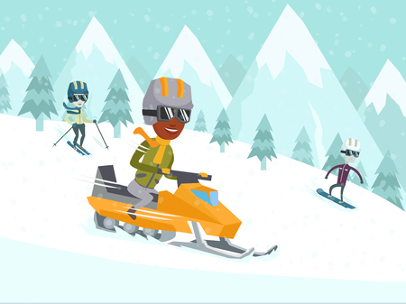 Diverse group of happy multicultural people driving snowmobile, skiing and snowboarding in winter mountains. Recreation on nature, winter holiday, winter sports concept. Illustration