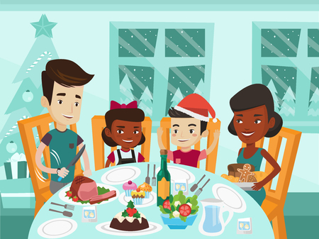 Happy multiethnic family of four celebrating Christmas day at festive table. Cheerful african-american mother and caucasian white father with their biracial kids having Christmas dinner at home. Vectores