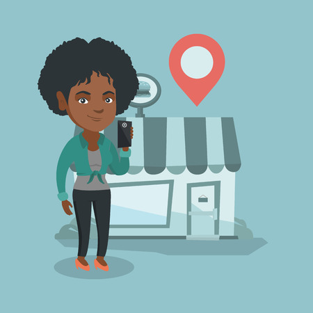 African woman holding a smartphone with mobile app for looking for a restaurant. Woman using smartphone on the background of restaurant with map pointer. Vector cartoon illustration. Square layout. Illustration