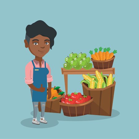 Young african saleswoman giving thumb up while standing on the background of stall with vegetables and fruit. Saleswoman selling fruit and vegetables. Vector cartoon illustration. Square layout.