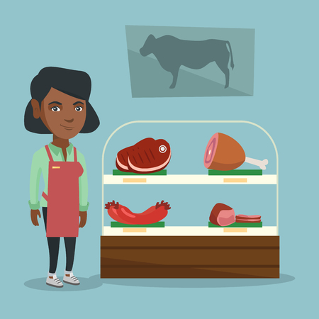 Young african-american saleswoman with fresh meats in the butcher shop.